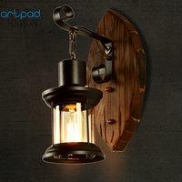 Artpad American LOFT Industrial Retro Wall Lamp AC90V 260V E27 Metal LED Adjustable Corridor Balcony Light for Indoor Fixtures