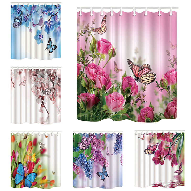Pink Pose Butterfly Print Waterproof Shower Curtain Polyester Washable Fabric Bath Curtain Home Bathroom Curtains With 12 Hooks