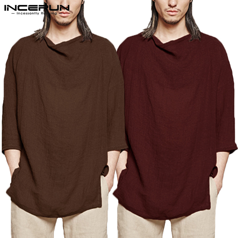 INCERUN 100%Cotton Casual Shirts Long Sleeve Camisa Masculina Hiphop Autumn Summer Plain Loose Crew Neck Male Tee Shirts Clothes