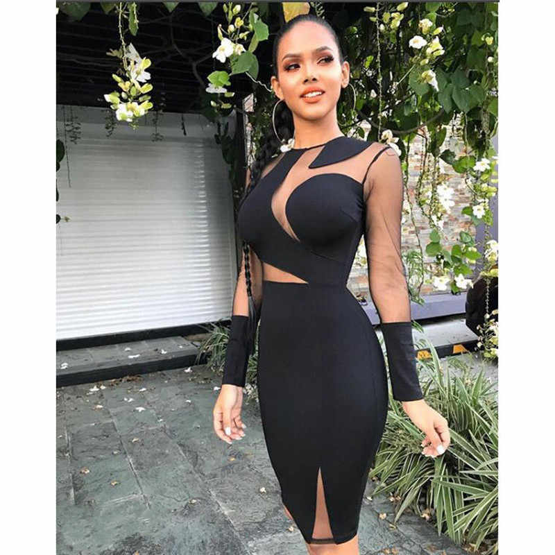 Black Long Sleeve Secy Slim Party Club Dress Vestidos Sexy Midi Pencil  Bodycon Bandage Dresses Slim 3d1cdc1b8e87