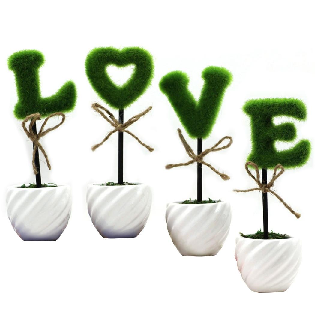 4PCS Artificial Plant Decorative Letter Pattern Fake Plant Home Decor Plant