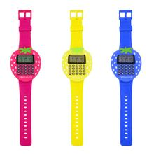 Exam artifact Mini Digital Calculator Kids Children Students Strawberry Wrist Watch Study Gift children kids date multi purpose calculator silicone wrist watch kids date month time display mini calculator mathematics suppl