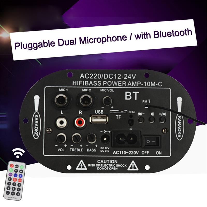 Car Power Amplifier Board Support TF Card Radio FM MP3 Three-use 2 Mic Car Digital Amplifier Monophone Bluetooth Amplifier Board