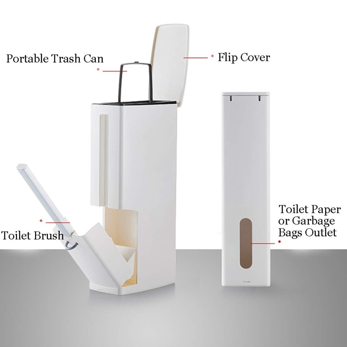 Promotion! Ensembles intégrés de brosse de toilette multifonctionnelle blanche avec la poubelle de doublure de poignée de secousse