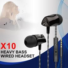 цена на X10 3.5MM Mobile Phone In-ear Earphones Heavy Bass Wired Headset With Microphone Tuning HiFi Earphones