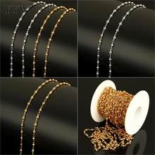 10m/Spool DIY Stainless Steel Making Chain With Round Bead Ball Gold Original Color Metal Chain For Women Men Necklace Bracelets(China)