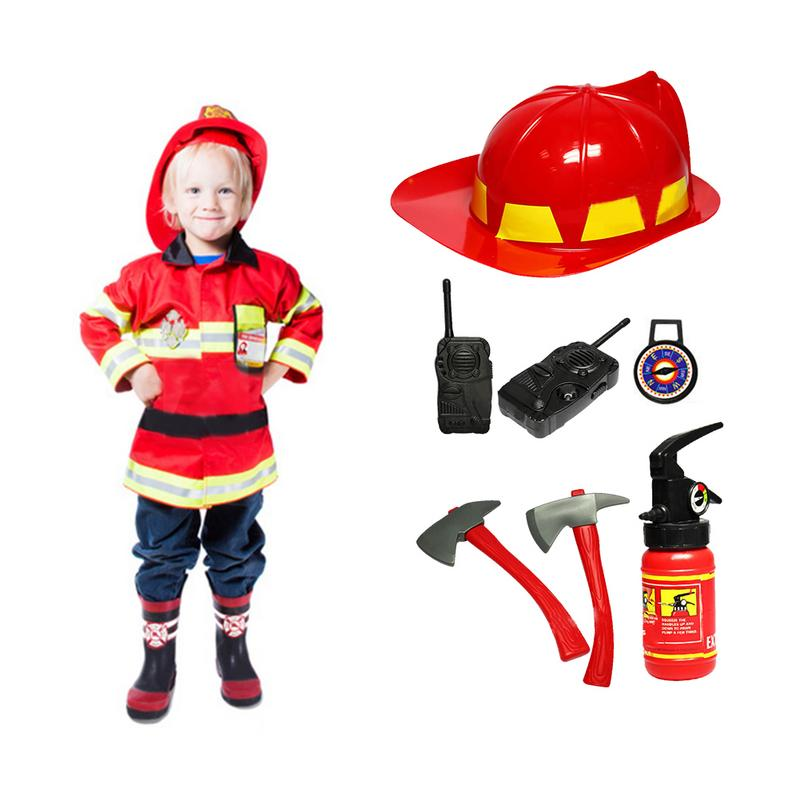 Construction Worker Fireman Firefighting Costume Role Play House Kit Set Engineering Dress Up Educational Toy Kids Boys Girls