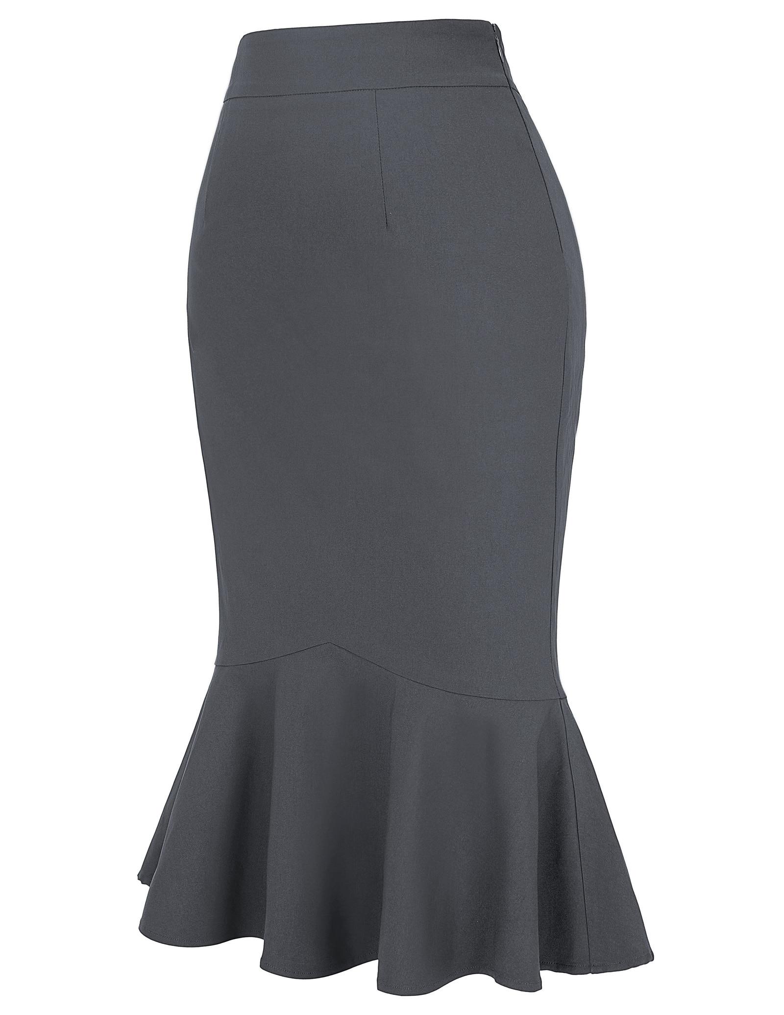 Kate Kasin Vintage Mermaid Wiggle Ruffled Pencil Skirt Pin Up 40s 50s Party