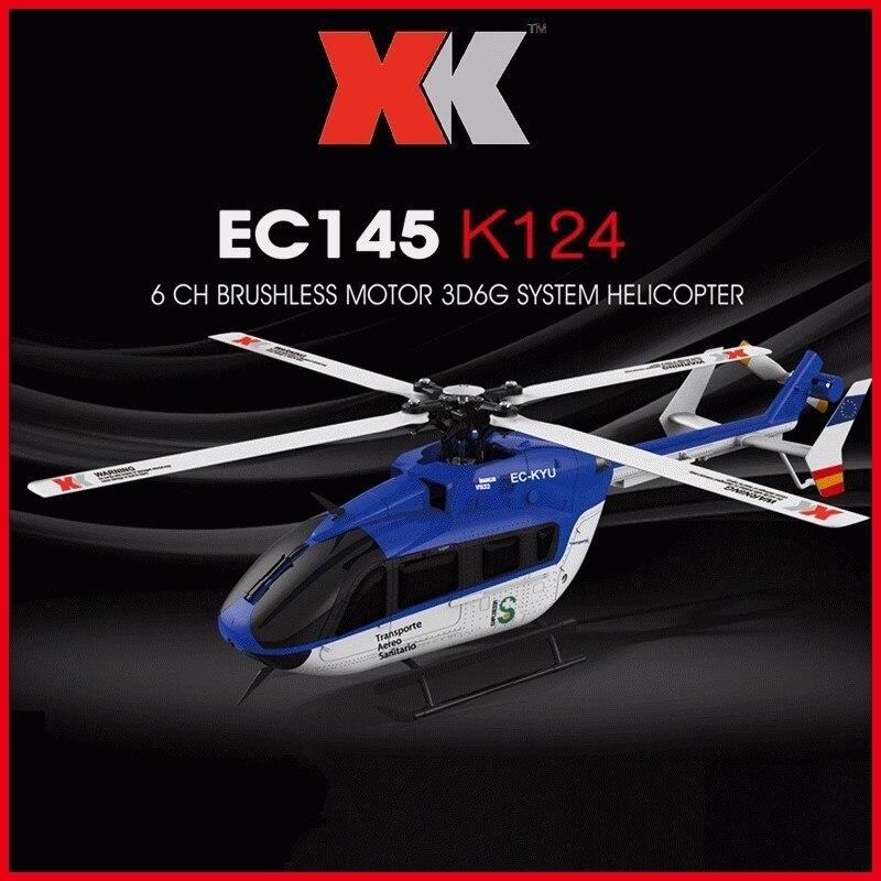Original xk k124 ec145 6ch motor sem escova 3d 6g sistema rc helicóptero compatível com futaba S-FHSS rtf vs wltoys v977 zlrc