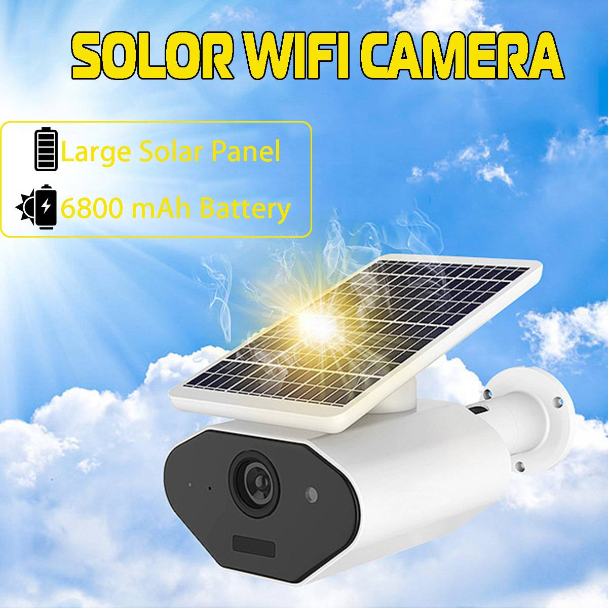 WIFI Wireless Solar Powered Surveillance IP Camera 1080P 2.0MP Waterproof 143 Degrees Angle Intercom Indoor Outdoor CameraWIFI Wireless Solar Powered Surveillance IP Camera 1080P 2.0MP Waterproof 143 Degrees Angle Intercom Indoor Outdoor Camera