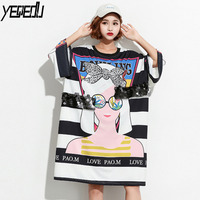 #1617 Summer White Striped Printed Cartoon Girls Long Split Joint T Shirts With Sequins Women Big size Harajuku Streetwear Loose