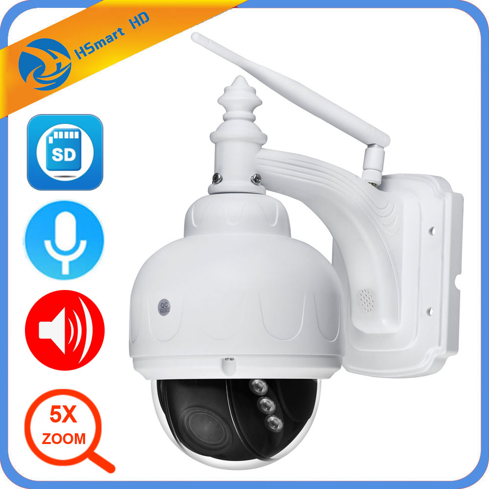 Wireless IP Speed Dome Camera Wifi HD 1080P PTZ Outdoor Security MIC Audio CCTV 2.7-13.5mm Auto Focus 5X Zoom SD Card ONVIF IPC