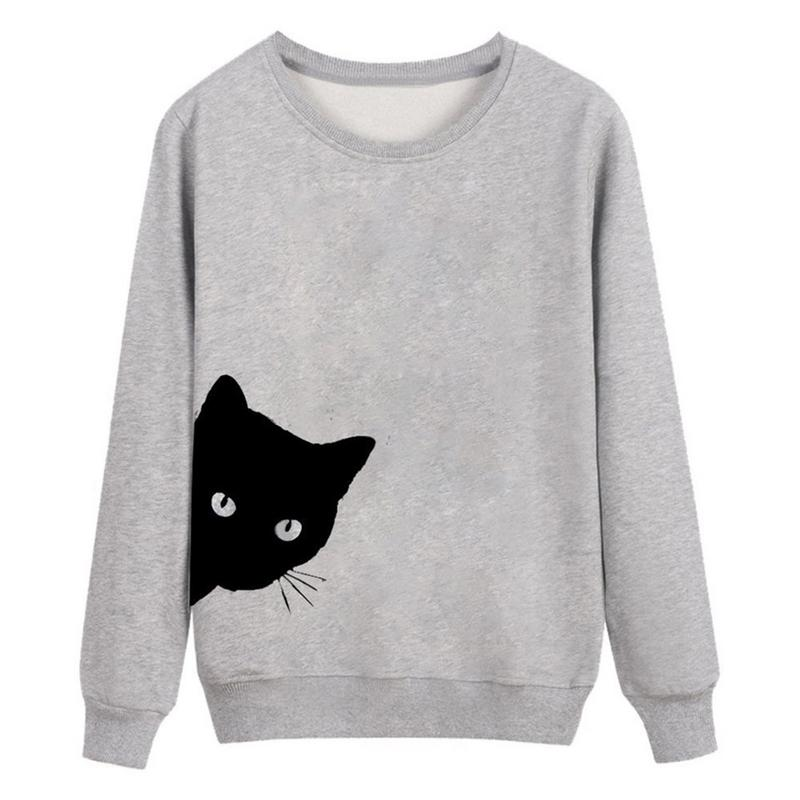 Cat Looking Out Side Print Women Sweatshirts Casual Fashion Hoodies For Lady Girl Funny Hipster Jumper Drop Ship