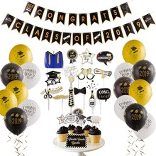 Graduation 2019 Party Decoration Congrats Grad Banner Cake Topper Photo Booth Props Balloons Class Of
