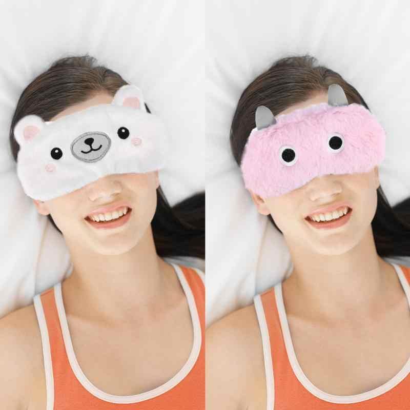 Милая зверушка Мишка повязка на глаза, маска для сна Nap завязанными глазами Мультяшные плюшевые тени Рождество коробки Nap тени зима маска для сна