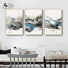 CREATE&RECREATE Chinese Landscape Abstract Posters And Prints Wall Art 3PCS Canvas Oil Painting Decorative Pictures CR1810113015