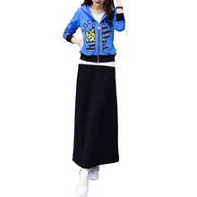 Korean fashion embroidered 2019 spring new drill coat jacket long skirt big yards leisure two-piece outfit women vestidos XL-5XL