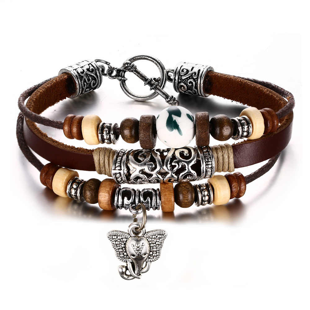 Vnox Vintage Genuine Leather Bracelet for Men / Women Beads Elephant Charm Jewelry