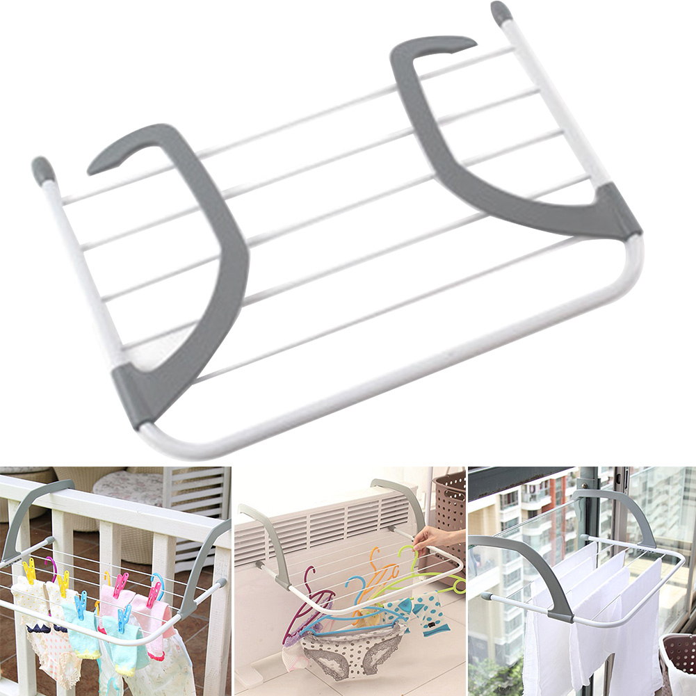 Portable Folding Adjustable Storage Drying Rack Balcony Clothes Laundry Multifunction Telescopic Radiator Airer Outdoor Pole