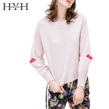 HYH Haoyihui Leisure  Girl Long Slit Sleeve Sweater Color Collision Splicing Round Collar Pullover Women Knitting O-Neck Tops недорого