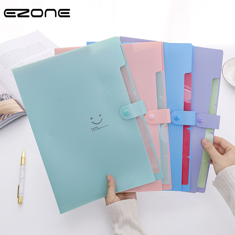 EZONE 5 Grid Document Bag Smile Face Printed A4 File Folder Candy Color Expanding Wallet Portable Organizer Paper Holder Supply