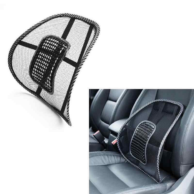 Car Seat Cushion Black Mesh Cloth Lumbar Waist Support Lumbar Pillow Automobiles Office Chair Relief Back Pain Auto Accessories