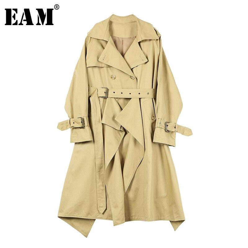 [EAM] 2019 New Spring Summer Lapel Long Sleeve Khaki Loose Double Breated Big Size LongWindbreaker Women   Trench   Fashion JQ575