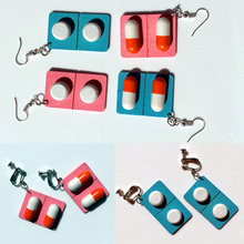 2019 1Pair Womens Cute Creative Wooden Earrings Hoop Water Drop pills medicine Geometric Long Pendant