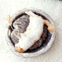 Long Plush Pet Cat Bed Mat Felt Round Cushion Kennel Kitten Anti Scratch Bowl Kennel Nest with Cat Teaser Toys Cat Supplies