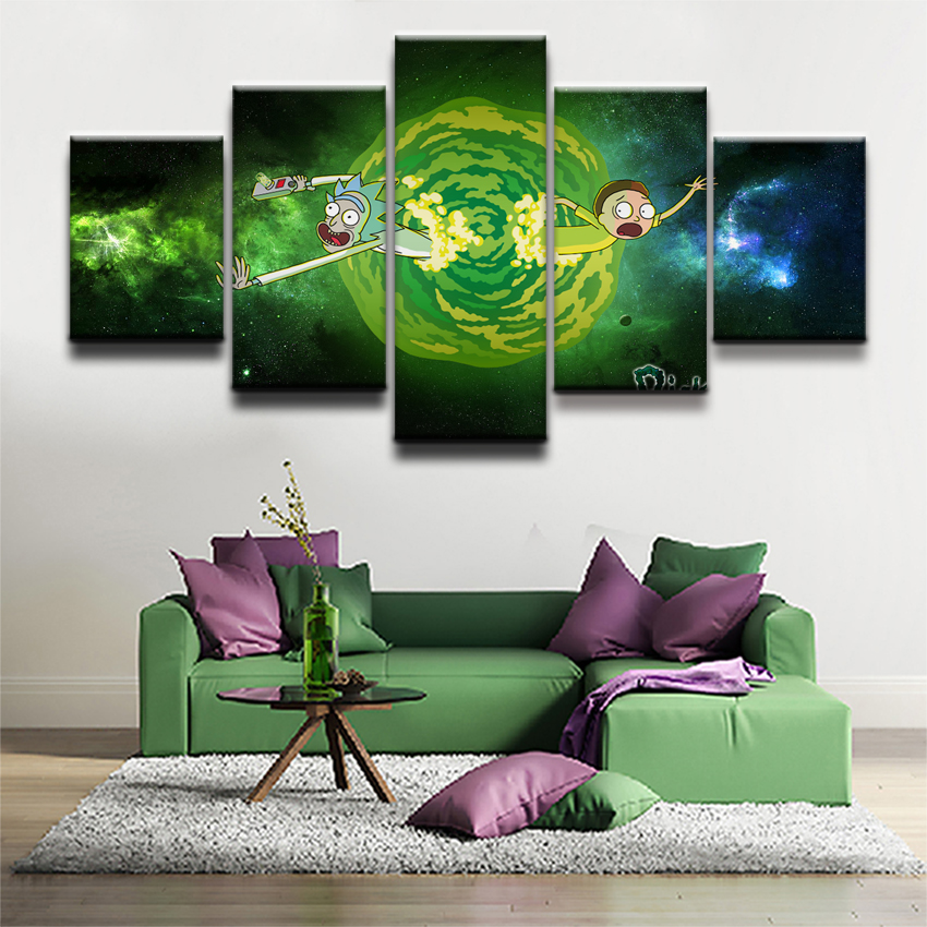 Animated Science Fiction Comedy Pictures Frame Home Decor 5 Panel Rick And Morty Painting On Canvas Print The Wall Poster