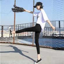 Loyalget New wild black tight pencil pants Ladies Jean Trousers High Waist Hole Zip Belt Plain Pants Women Elegant Crop