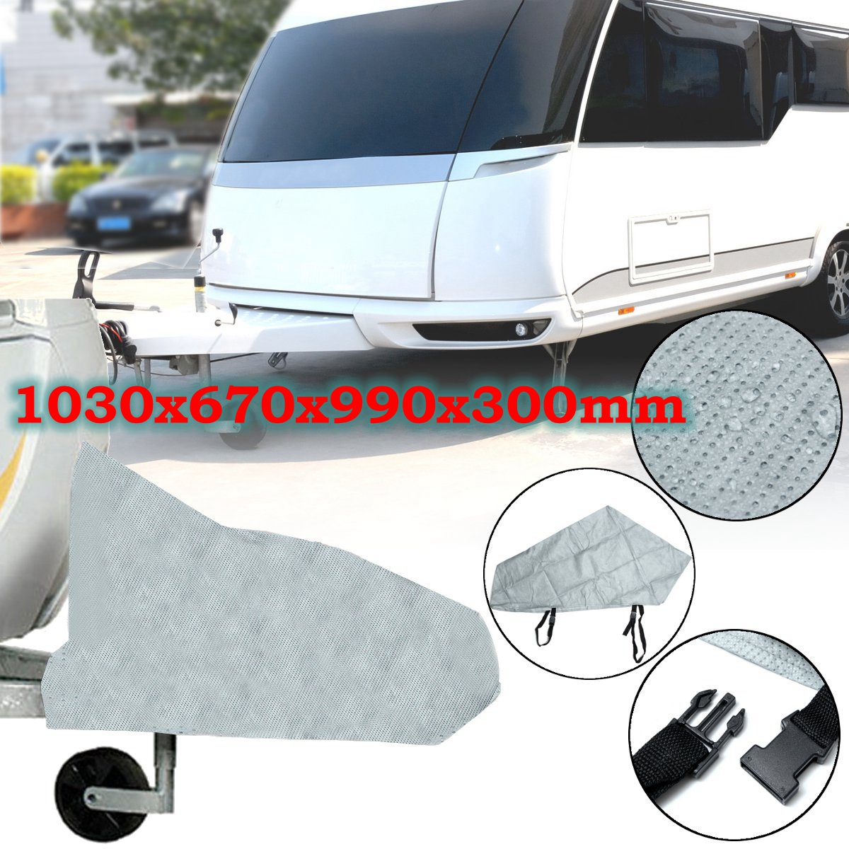 Automobiles & Motorcycles Grey Waterproof Caravan Tailer Towing Hitch Coupling Lock Cover Reflective Coating Material Rain Dust Protect Selected Material