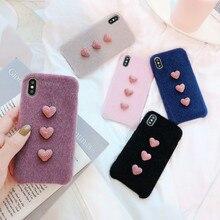 XINDIMAN 2019 Plush phone case for iphone XR XS XSMAX covers soft Warm PU iphone6 6s 6plus 7 7plus 8 8plus Fashion