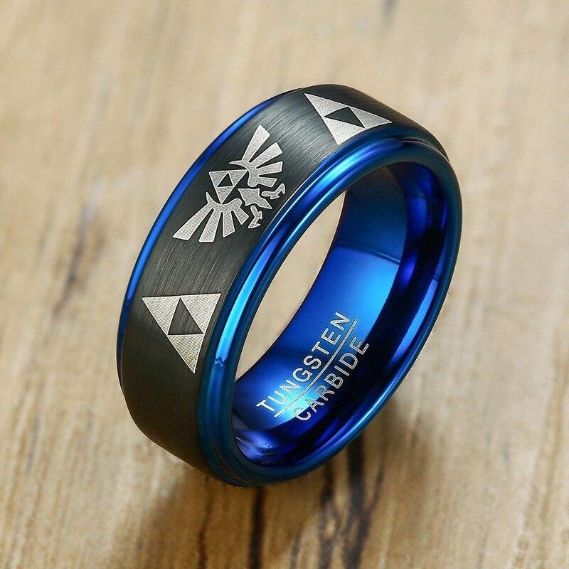 Legend of zelda tungstênio dome masculino anel de casamento marcas noivado masculino menino anillos anel acessórios triforce jóias