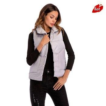 2018 New Waistcoat Casual Short Cotton Vest Coat Women Sleeveless Vest Winter Top Quality Vest Waistcoat Plus Size O8R2