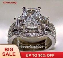 e91f36bcf62f Choucong corte princesa 5ct piedra 5A de piedra de circón 10KT oro blanco  lleno de 3-en-1 anillo de compromiso tamaño del conjun.