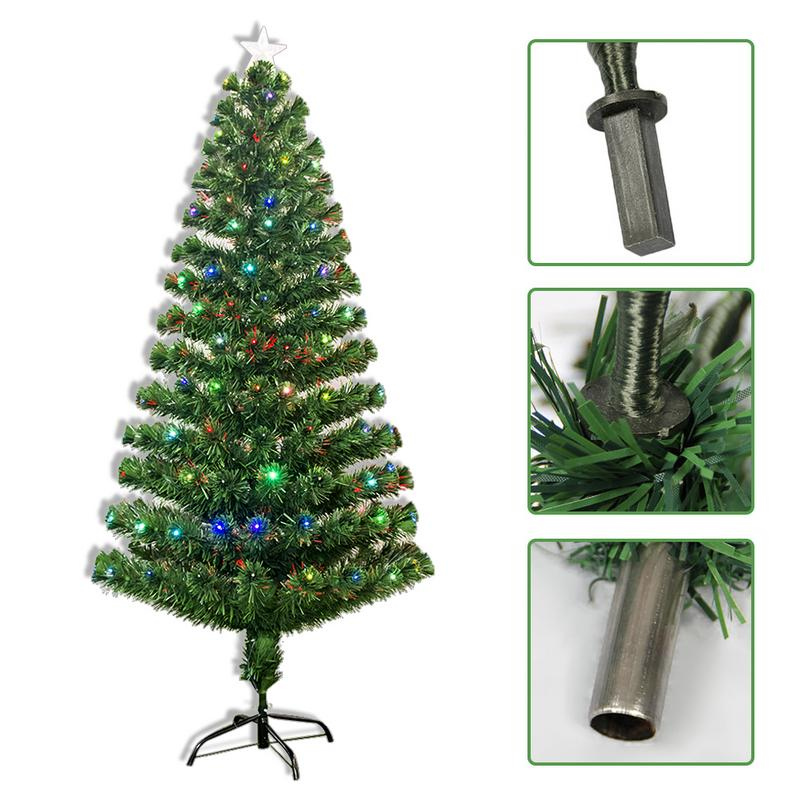 ( DE Ship )1.2M 1.5M 1.8M 2.1M Colorful light Lamp Christmas Tree Green Xmas Tree Iron Stand Home Decoration arbol de navidad