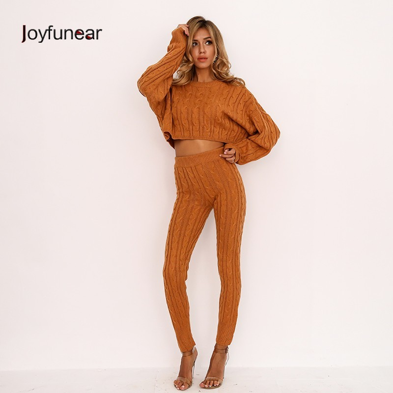 Joyfunear Stable Attractive Knitted Go well with Pullover Tops Excessive Waist Pants Two Piece Set Ladies 2018 Winter Tracksuit For Ladies 2 Piece Set