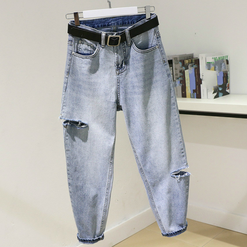 Boyfriend Jeans For Women High Waist Harem Jeans Woman Pantalon Femme BF Style Casual Ripped Hole Washed Loose Denim Pants