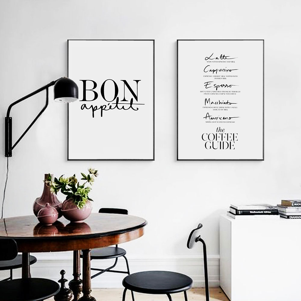 Scandinavian French Kitchen Words Posters Canvas Prints Nordic Style Painting Wall Art Canvas Picture For Living Room Unframed