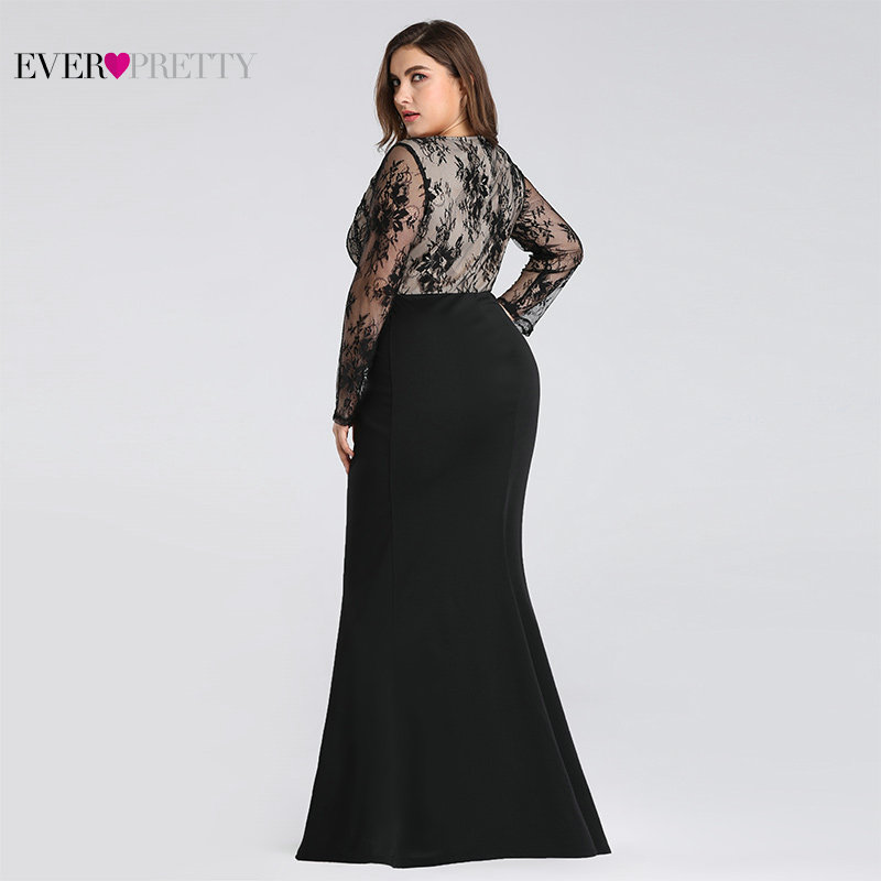 Plus Size Evening Dresses Long 2020 Ever Pretty Elegant Mermaid Lace Full Sleeve O-neck Robe De Soiree New Wedding Guest Gowns 2