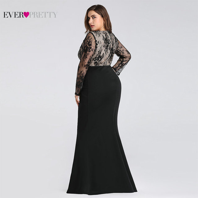 Plus Size Evening Dresses Long 2019 Ever Pretty Elegant Mermaid Lace Full Sleeve O-neck Robe De Soiree New Wedding Guest Gowns 1