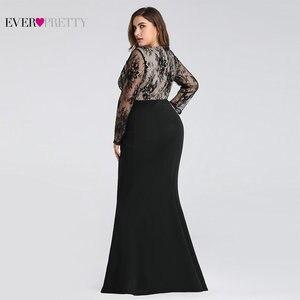 Image 4 - 이브닝 드레스 긴 2020 에버 예쁜 EZ07771 우아한 인어 레이스 전체 슬리브 o 넥 플러스 크기 신부 드레스의 어머니