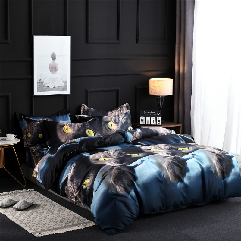 Popular In Europe Market 3d Black Cat Bedding Set New Design Soft Printing Pillowcase Bed Luxury
