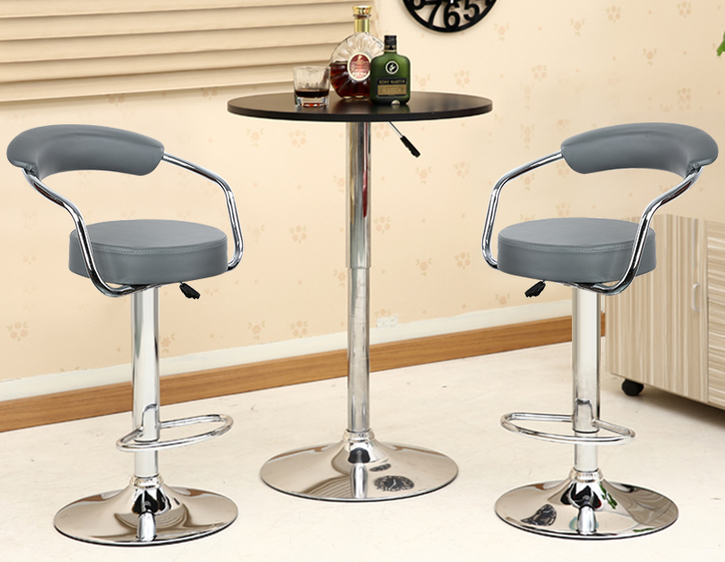 NEW Arrival 2PCS Adjustable Gas Lift Bar Stools Modern PU Leather Hollow Backrest Chair 2 Colors