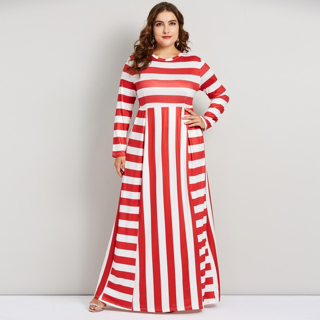 Plusee Autumn Winter Women Maxi Dress Elegant Red White Stripe Plus Size  5XL Stylish Party Floor Length Swing Long Dress Female 6d006b1cdc66