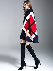 Image 5 - Veste dhiver avec motifs géométriques pour femmes, nouvelle mode, manches de chauve souris, Cape chaude, Ponchos, mélanges de laine, vêtements dextérieur, nouvelle mode 2019