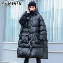 CHICEVER Women's Down Jacket Female Coats Hooded Long Sleeve Zipper Oversize Thick Warm Coat Korean Fashion Clothing New