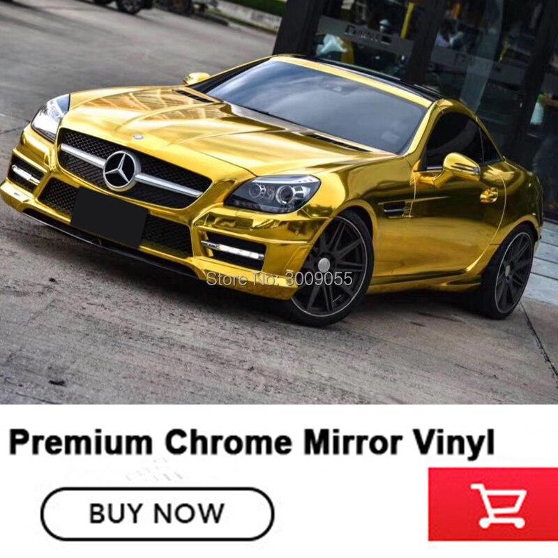 1.52*20 mètres/rouleau extensible or Chrome vinyle Film voiture autocollant Chrome vinyle voiture chaîne Air bulle libre diverses couleurs de qualité