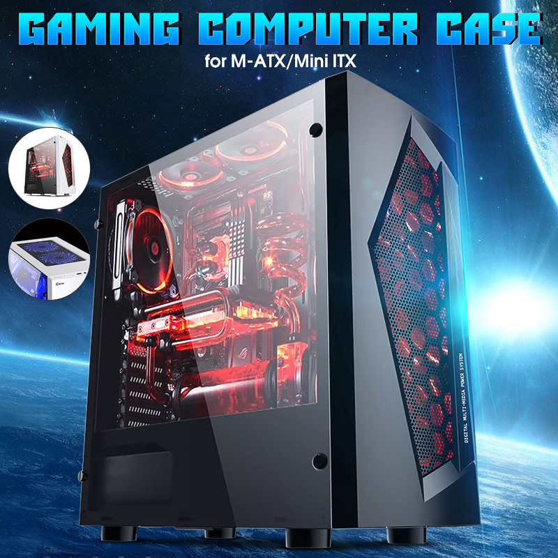 LEORY V3 ATX ordinateur de jeu PC boîtier 8 Ports de ventilateur USB 3.0 pour M-ATX/Mini ITX carte mère noir/blanc 370x185x380mm - 4
